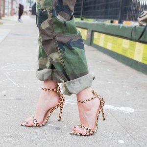 [Public Desire] ace leopard patent heeled sandals